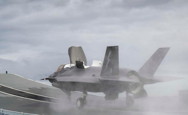 F-35B jet launching from HMS Queen Elizabeth