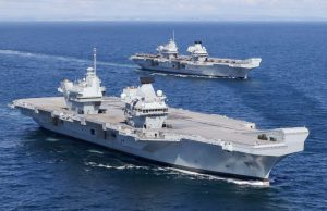 Two Royal Navy aircraft carriers at sea together