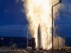 USS John Paul Jones (DDG 53) launches a Standard Missile 6 (SM-6) during a live-fire test of the ship's aegis weapons system