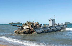M1A1 Abrams tank on a navy light landing craft