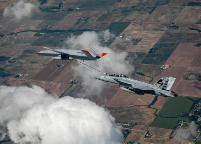 MQ-25 refueling a US Navy Super Hornet