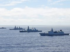 Royal Navy aircraft carrier HMS Queen Elizabeth (R08), the U.S. Navy command and control ship USS Mount Whitney (LCC 20) and the guided-missile destroyer USS The Sullivans (DDG 68), with the United Kingdom Carrier Strike Group, joined ships from NATO Standing Maritime Groups One and Two