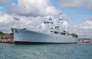 Type 82 destroyer HMS Bristol in Portsmouth Dockyard