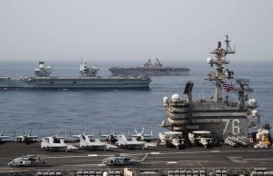 HMS Queen Elizabeth in Gulf of Aden with US carrier, amphibious assault ship