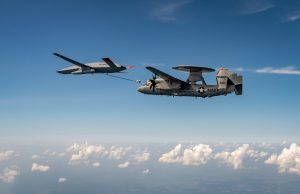 The unmanned MQ-25 Stingray test asset conducts its first aerial refueling flight with an E-2D Aug.18 at MidAmerica Airport in Illinois.