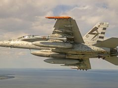 F/A-18 E/F flies with an AARGM-ER missile