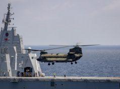 Singaporean CH-47 Chinook with Australian LHD HMAS Canberra