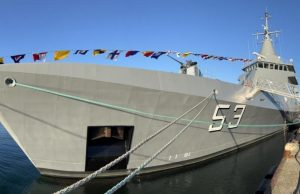 A.R.A. Storni OPV Argentine Navy built by French shipbuilder Naval Group delivery ceremony in France on October 13, 2021