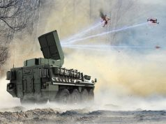 Stryker vehicle with Leonidas counter-drone laser system