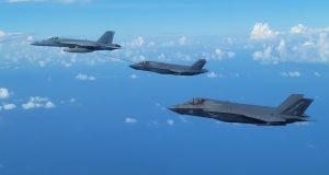 Super Hornet air to air refueling a UK F-35