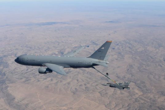 A KC-46 Pegasus from the 97th Air Mobility Wing, assigned to the 56th Air Refueling Squadron, Altus Air Force Base (AFB), Oklahoma, refuels an F-16 Fighting Falcon from the 49th Wing, 54th Fighter Group, Holloman AFB, New Mexico, on December 7, 2020.